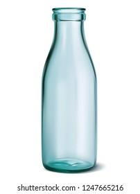 Glass milk bottle. Empty, clear on white.  3d illustration