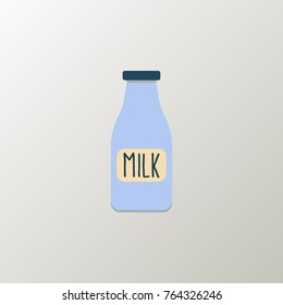 Glass milk flat icon isolated on clean background. Lactose bottle icon concept sign for your web site, mobile, logo, app and UI design.