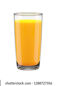 Glass with orange juice isolated on white background. 3d rendering, 3d illustration.