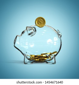 Glass piggy bank with golden coins on blue background 3d rendering