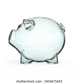 Glass piggy bank with golden coins on white background 3d rendering