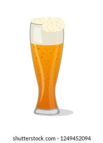 Glass pint tankards of frothy beer isolated icon in cartoon style. Brewery, alcohol drink, ale symbol, bar or pub menu design element illustration.