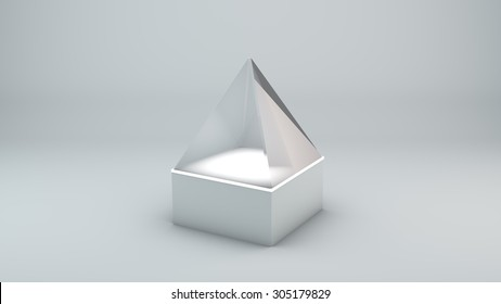 Glass pyramid on white background with lights