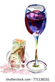 A glass of red wine and a spring roll on white background, watercolor sketch