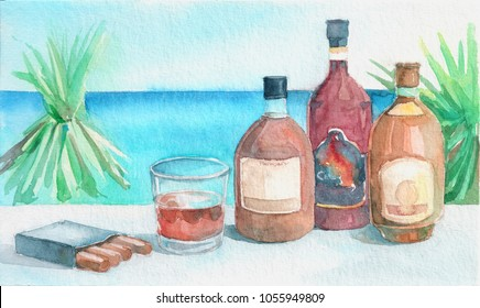 Glass of rum with bottles and cigars on the tropical beach background. Watercolor hand drawn illustration.