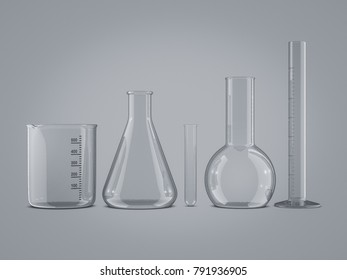 glass science tubes 3d rendering