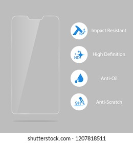 Glass screen protector. screen protector for smartphone Illustration