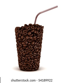 Glass shape made of coffee beans with straw over white background. Extralarge resolution