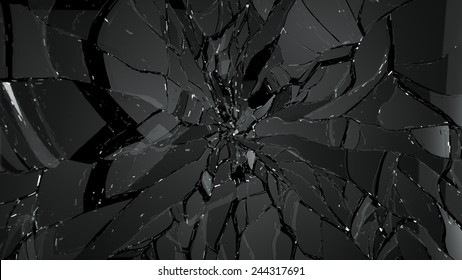 glass shatter and breaking on black. Large resolution