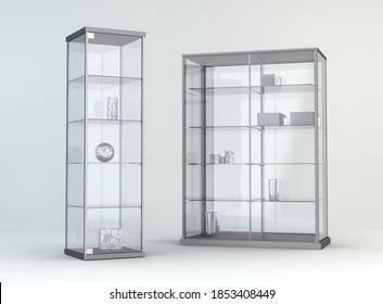 Glass showcases in a empty room 3D Illustration