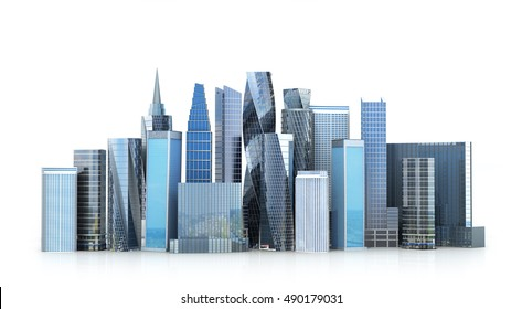 Glass skyscrapers, Grod, isolated on white background. 3D illustration