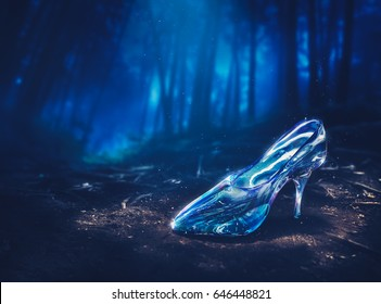 glass slipper in a forest at night -3D illustration