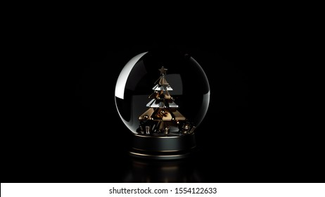 Glass Snow Globe With Christmas Tree Inside. Black And Golden New Year And Christmas Holiday Gift, Souvenir - 3D Illustration