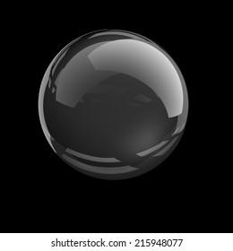 glass sphere on black background.