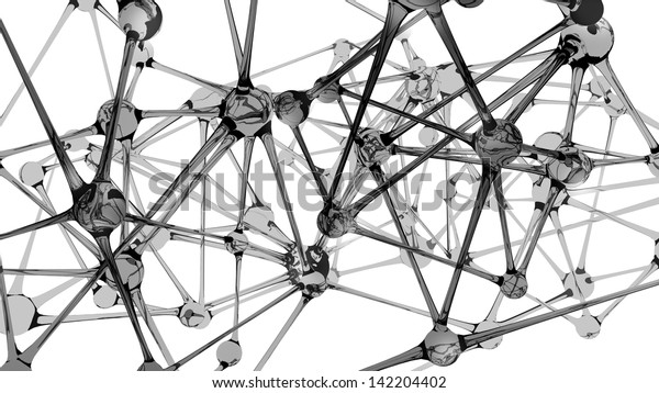 Glass structure in a neuron like configuration, as a stylized background for biological network communication activity. Isolation path included in file, on white