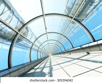 The glass tunnel with a lift.