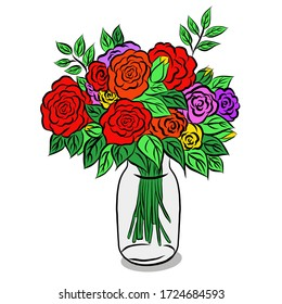 Glass vase or glass bottle has beautiful rose flowers and leaves on over white background, free space for your text design.Hand drawn,creative with illustration progress.