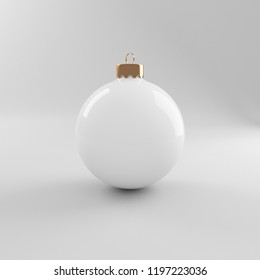 Glass White Christmas tree toy on a gray background, mockup for design, 3d render.