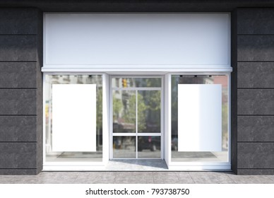 Glass, white and dark gray stone cafe facade with two vertical posters and a glass door. 3d rendering mock up