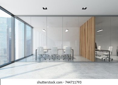 Glass and wooden conference room with a long wooden table with white chairs and panoramic windows. 3d rendering mock up