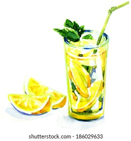 glass of yellow lemonade with ice and mint. watercolor painting on white background
