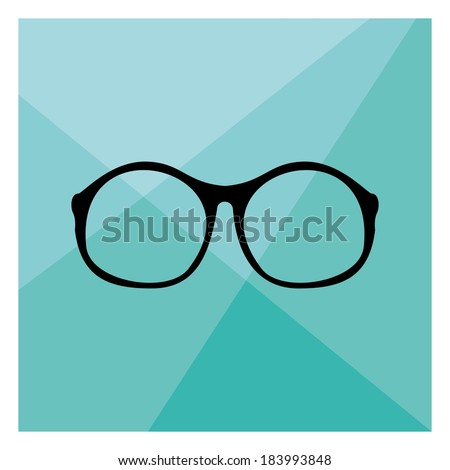 c7769dc323015 Glasses with black thick holder retro hipster illustration on mint green  flat triangle mosaic background.