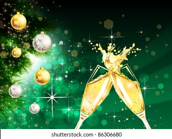 glasses with champagne - Free Animated Christmas Ecards