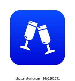 Glasses champagne icon blue isolated on white background