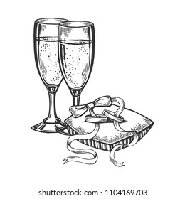 Glasses with champagne wine and wedding rings engraving raster illustration. Scratch board style imitation. Black and white hand drawn image.