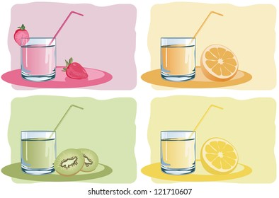 glasses with fresh juice
