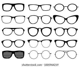 Glasses model icons, man, women frames. Sunglasses, eyeglasses black silhouettes isolated on white. Different shapes, frame, styles.  illustration on white background. EPS