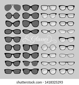Glasses set. Black and fashion, for men and women eyes glasses, optical eyeglasses and sunglasses icons illustration