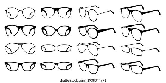 Glasses silhouette. Cool eyeglasses, fashion black eyewear. Stylish retro sunglasses. Glass medicine spectacles. icons set