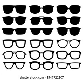 Glasses silhouette. Geek eyewear, cool sunglasses and eyeglasses silhouettes. Elegance glasses or geeks fashion optical ocular lens accessory.  isolated icons collection