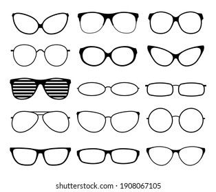 Glasses silhouettes. Fashion sunglasses frames, black spectacles. Geek and hipster eyewears. Man woman glasses. icons set
