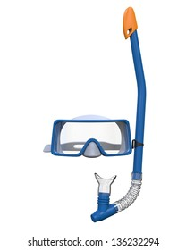 Glasses and Snorkel Isolated on White Background