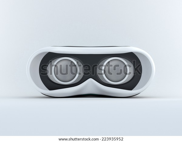 Glasses for virtual reality in 3D. Front view with screen off.