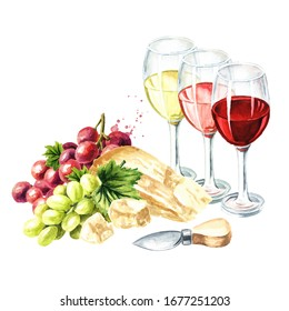 Glasses of white wine with grapes and parmesan cheese. Hand drawn watercolor illustration, isolated on white background