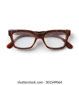 Glasses.Folded.Horn rimmed.Realistic 3D rendering.Isolated on white background.Top view.
