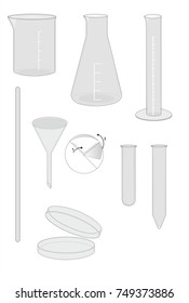glassware names chemistry laboratory equipments illustration stock
