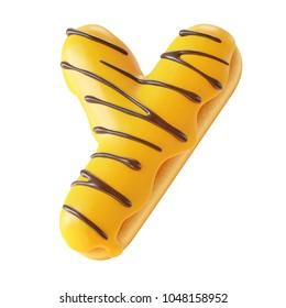 Glazed donut font 3d rendering letter Y