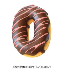 Glazed donut font 3d rendering letter O