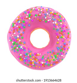 Glazed donut with sprinkles on a white background front view. 3d rendering and illustration of pastry and confectionery