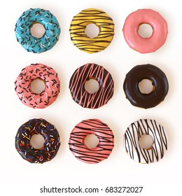 Glazed donuts or doughnuts set - various colors and tastes 3d rendering