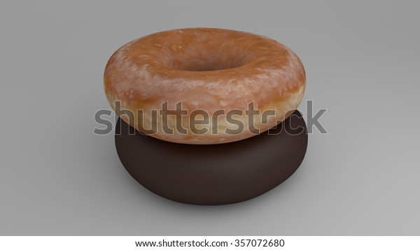 glazed doughnut stacked over a chocolate doughnut