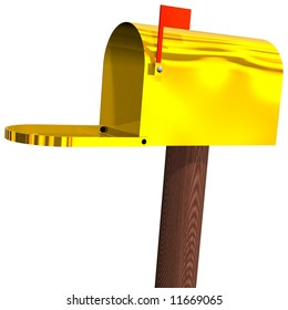 Gleaming golden mailbox open, isolated on white