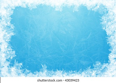Gleaming shining ice frame, in the center of the composition frozen deep clear water