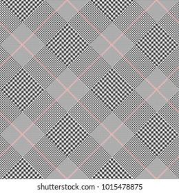 Glen plaid pattern. Prince of Wales check. Digital fashion illustration.