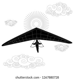 Glider. Coloring image of glider in the sky. Illustration.