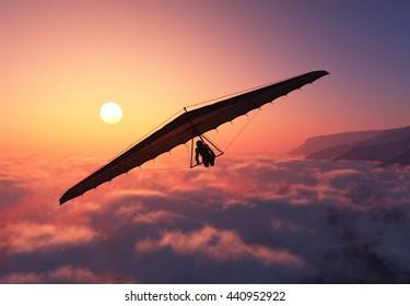 Glider flight over the clouds..3D render